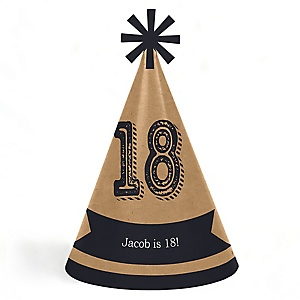 18th Milestone Birthday - Dashingly Aged to Perfection - Personalized Cone Happy Birthday Party Hats for Kids and Adults - Set of 8 (Standard Size)