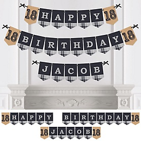 18th Milestone Birthday - Dashingly Aged to Perfection - Personalized Birthday Party Bunting Banner & Decorations