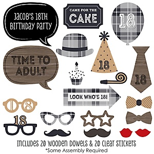 18th Milestone Birthday - Dashingly Aged to Perfection - 20 Piece Photo Booth Props Kit