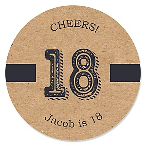 18th Milestone Birthday - Dashingly Aged to Perfection - Personalized Birthday Party Sticker Labels - 24 ct