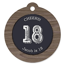 18th Milestone Birthday - Dashingly Aged to Perfection - Round Personalized Birthday Party Tags - 20 ct