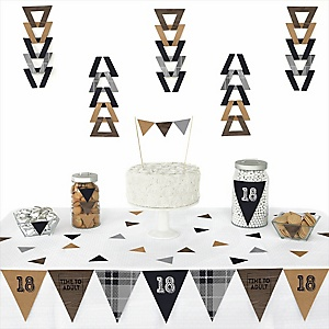 18th Milestone Birthday - Dashingly Aged to Perfection -  Triangle Birthday Party Decoration Kit - 72 Piece