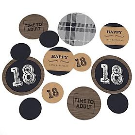 18th Milestone Birthday - Dashingly Aged to Perfection - Birthday Party Giant Circle Confetti - Man Birthday Party Decorations - Large Confetti 27 Count