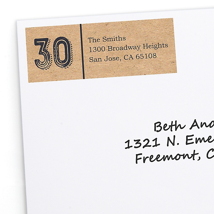 30th Milestone Birthday - Dashingly Aged to Perfection - Personalized Birthday Party Return Address Labels - 30 ct