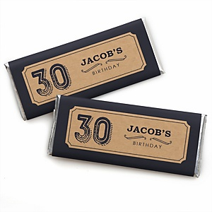 30th Milestone Birthday - Dashingly Aged to Perfection - Personalized Candy Bar Wrappers Birthday Party Favors - Set of 24