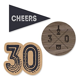 30th Milestone Birthday - Dashingly Aged to Perfection - DIY Shaped Party Paper Cut-Outs - 24 ct