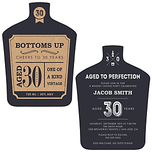 30th Milestone Birthday - Dashingly Aged to Perfection - Shaped Birthday Party Invitations - Set of 12