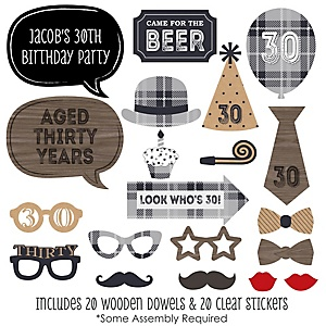 30th Milestone Birthday - Dashingly Aged to Perfection - 20 Piece Photo Booth Props Kit