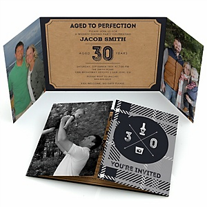 30th Milestone Birthday - Dashingly Aged to Perfection - Personalized Birthday Party Photo Invitations - Set of 12