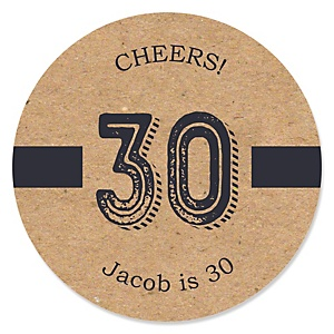 30th Milestone Birthday - Dashingly Aged to Perfection - Personalized Birthday Party Sticker Labels - 24 ct