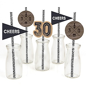 30th Milestone Birthday - Dashingly Aged to Perfection - Paper Straw Decor - Birthday Party Striped Decorative Straws - Set of 24