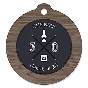 30th Milestone Birthday - Dashingly Aged to Perfection - Round Personalized Birthday Party Tags - 20 ct