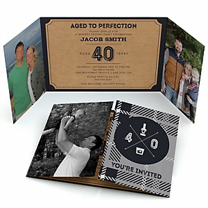 40th Milestone Birthday - Dashingly Aged to Perfection - Personalized Birthday Party Photo Invitations - Set of 12