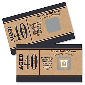 40th Milestone Birthday - Dashingly Aged to Perfection - Birthday Party Game Scratch Off Cards - 22 ct