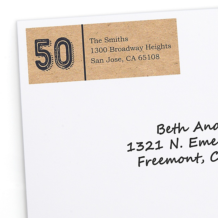 50th Milestone Birthday - Dashingly Aged to Perfection - Personalized Birthday Party Return Address Labels - 30 ct