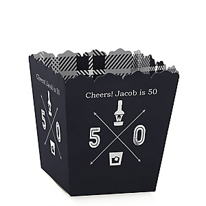 50th Milestone Birthday - Dashingly Aged to Perfection - Party Mini Favor Boxes - Personalized Birthday Party Treat Candy Boxes - Set of 12