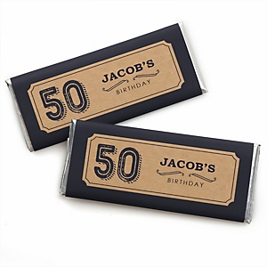 50th Milestone Birthday - Dashingly Aged to Perfection - Personalized Candy Bar Wrappers Birthday Party Favors - Set of 24