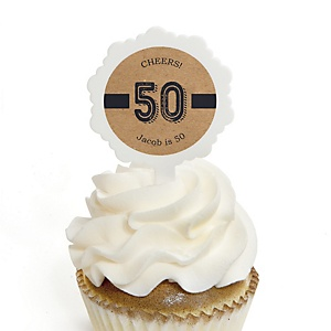 50th Milestone Birthday - Dashingly Aged to Perfection - Personalized Birthday Party Cupcake Pick and Sticker Kit - 12 ct