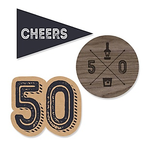 50th Milestone Birthday - Dashingly Aged to Perfection - DIY Shaped Party Paper Cut-Outs - 24 ct