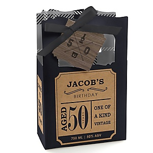 50th Milestone Birthday - Dashingly Aged to Perfection - Personalized Birthday Party Favor Boxes - Set of 12
