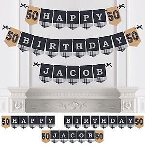 50th Milestone Birthday - Dashingly Aged to Perfection - Personalized Birthday Party Bunting Banner & Decorations