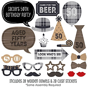 50th Milestone Birthday - Dashingly Aged to Perfection - 20 Piece Photo Booth Props Kit