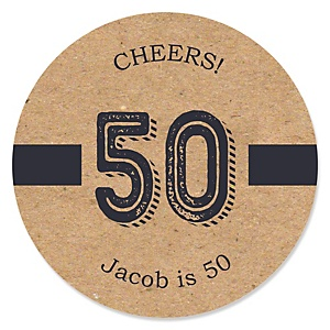 50th Milestone Birthday - Dashingly Aged to Perfection - Personalized Birthday Party Sticker Labels - 24 ct
