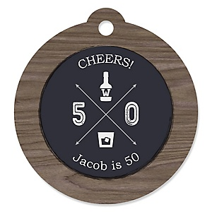 50th Milestone Birthday - Dashingly Aged to Perfection - Round Personalized Birthday Party Tags - 20 ct