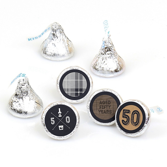 50th Milestone Birthday - Dashingly Aged to Perfection - Round Candy Labels Birthday Party Favors - Fits Hershey's Kisses - 108 ct