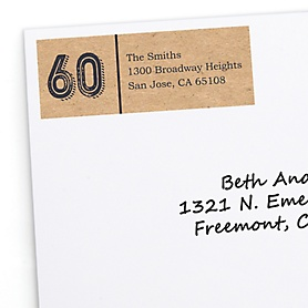 60th Milestone Birthday - Dashingly Aged to Perfection - Personalized Birthday Party Return Address Labels - 30 ct