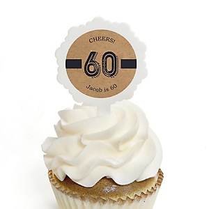 60th Milestone Birthday - Dashingly Aged to Perfection - Personalized Birthday Party Cupcake Pick and Sticker Kit - 12 ct