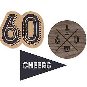 60th Milestone Birthday - Dashingly Aged to Perfection - DIY Shaped Party Paper Cut-Outs - 24 ct