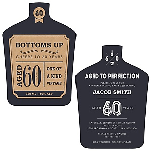 60th Milestone Birthday - Dashingly Aged to Perfection - Shaped Birthday Party Invitations - Set of 12