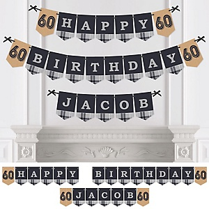 60th Milestone Birthday - Dashingly Aged to Perfection - Personalized Birthday Party Bunting Banner & Decorations