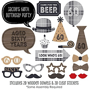 60th Milestone Birthday - Dashingly Aged to Perfection - 20 Piece Photo Booth Props Kit