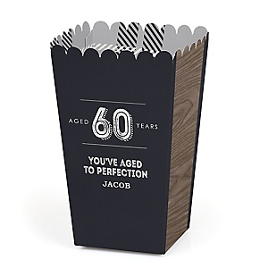 60th Milestone Birthday - Dashingly Aged to Perfection - Personalized Birthday Party Popcorn Favor Treat Boxes - Set of 12