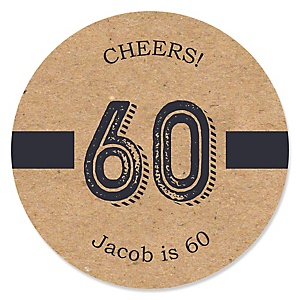 60th Milestone Birthday - Dashingly Aged to Perfection - Personalized Birthday Party Sticker Labels - 24 ct
