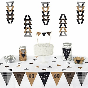 60th Milestone Birthday - Dashingly Aged to Perfection -  Triangle Birthday Party Decoration Kit - 72 Piece