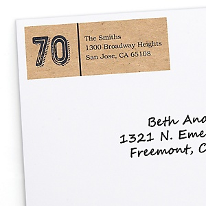 70th Milestone Birthday - Dashingly Aged to Perfection - Personalized Birthday Party Return Address Labels - 30 ct