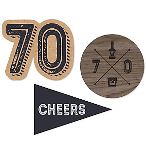 70th Milestone Birthday - Dashingly Aged to Perfection - DIY Shaped Party Paper Cut-Outs - 24 ct