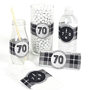 70th Milestone Birthday - Dashingly Aged to Perfection - DIY Party Wrappers - 15 ct