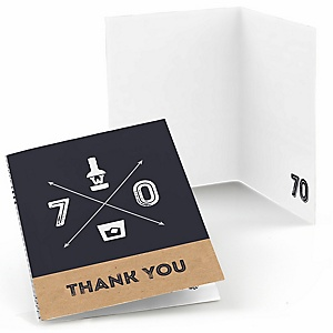 70th Milestone Birthday - Dashingly Aged to Perfection - Birthday Party Thank You Cards - 8 ct