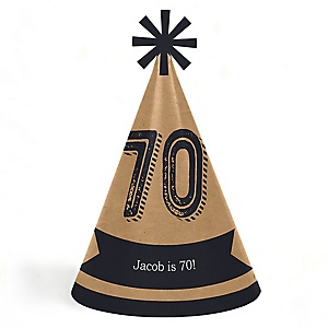70th Milestone Birthday - Dashingly Aged to Perfection - Personalized Cone Happy Birthday Party Hats for Kids and Adults - Set of 8 (Standard Size)