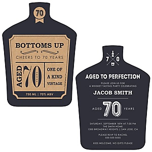 70th Milestone Birthday - Dashingly Aged to Perfection - Shaped Birthday Party Invitations - Set of 12