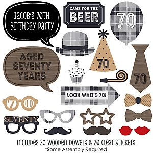 70th Milestone Birthday - Dashingly Aged to Perfection - 20 Piece Photo Booth Props Kit