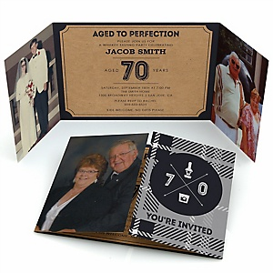 70th Milestone Birthday - Dashingly Aged to Perfection - Personalized Birthday Party Photo Invitations - Set of 12