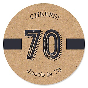 70th Milestone Birthday - Dashingly Aged to Perfection - Personalized Birthday Party Sticker Labels - 24 ct