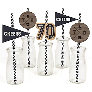 70th Milestone Birthday - Dashingly Aged to Perfection - Paper Straw Decor - Birthday Party Striped Decorative Straws - Set of 24