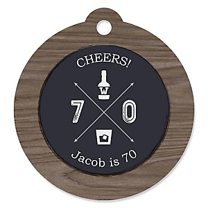 70th Milestone Birthday - Dashingly Aged to Perfection - Round Personalized Birthday Party Tags - 20 ct