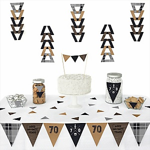 70th Milestone Birthday - Dashingly Aged to Perfection -  Triangle Birthday Party Decoration Kit - 72 Piece